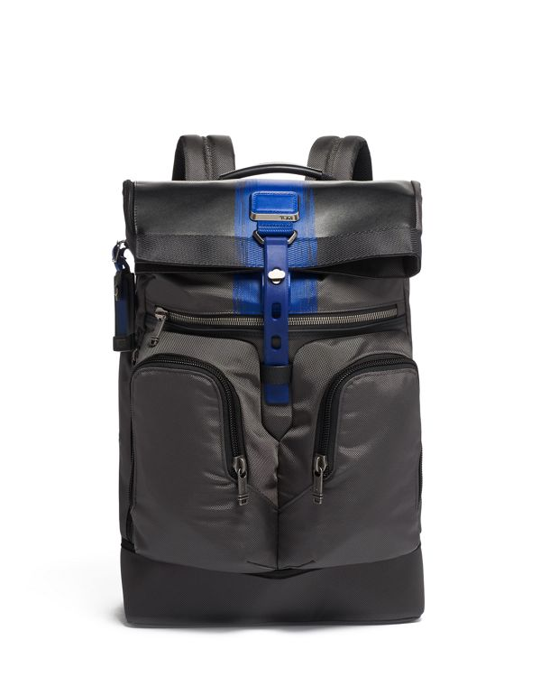 London Roll Top Backpack in Brushed  Blue