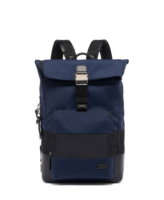 Oak Roll Top Backpack in Navy  Reflective