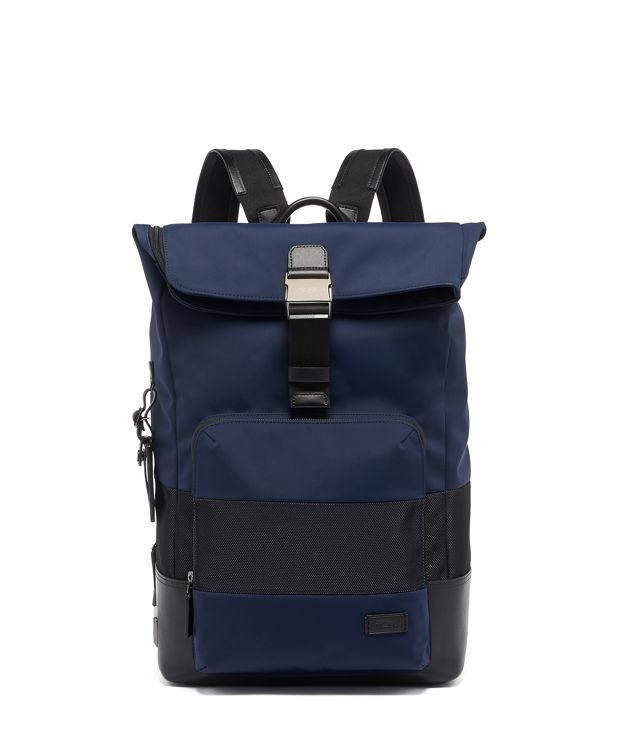 Oak Roll Top Backpack in Navy Reflective