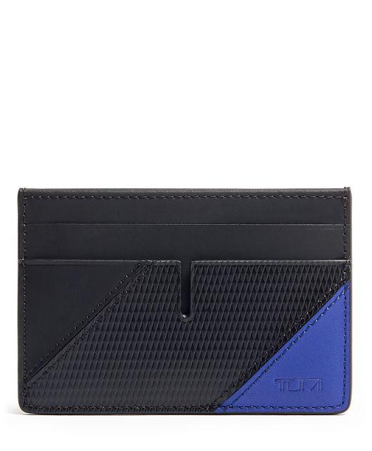 Money Clip Card Case in Blue Pieced