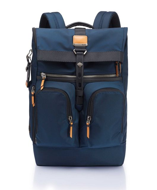 London Roll Top Backpack in Navy