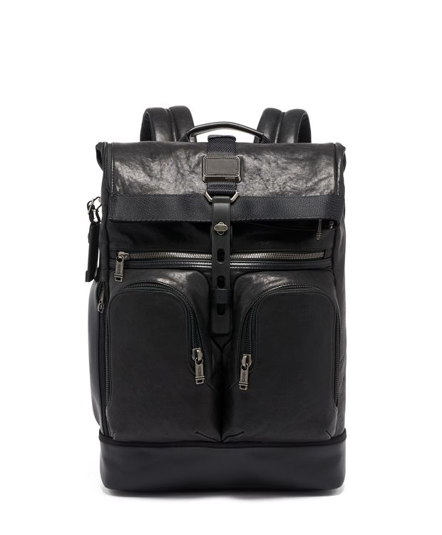London Roll Top Backpack Leather in Black Leather