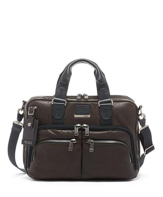 Albany Slim Commuter Brief Leather in Dark Brown