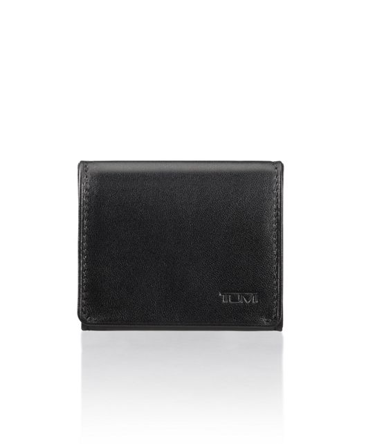 Square Coin Case in Black Smooth