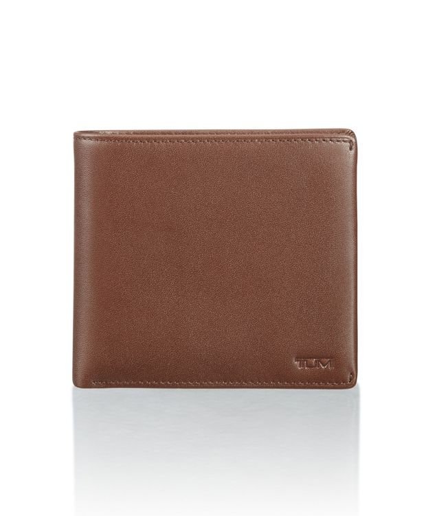 Global Center Flip Coin Wallet in Brown Smooth
