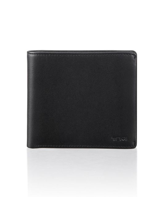 Global Center Flip Coin Wallet in 블랙 스무스