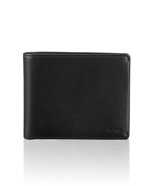 Global Compact Flip Coin Wallet in Black Smooth