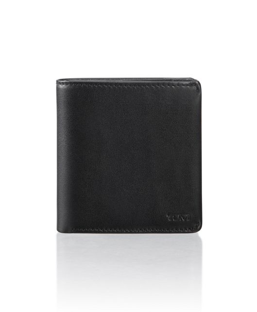 Compact Flip Coin Wallet in Black Smooth