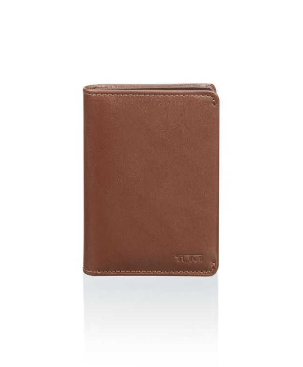 Gusseted Card Case in Brown Smooth