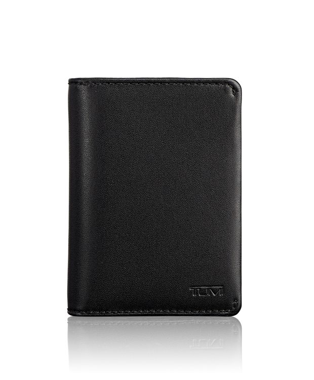 Gusseted Card Case in Black Smooth