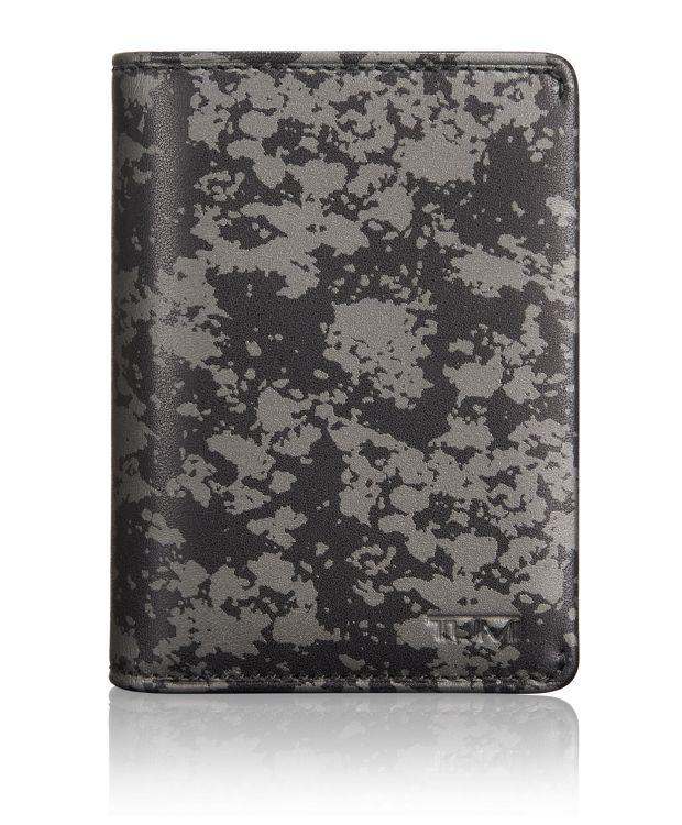 TUMI ID Lock™ Gusseted Card Case in Gunmetal Drip Print
