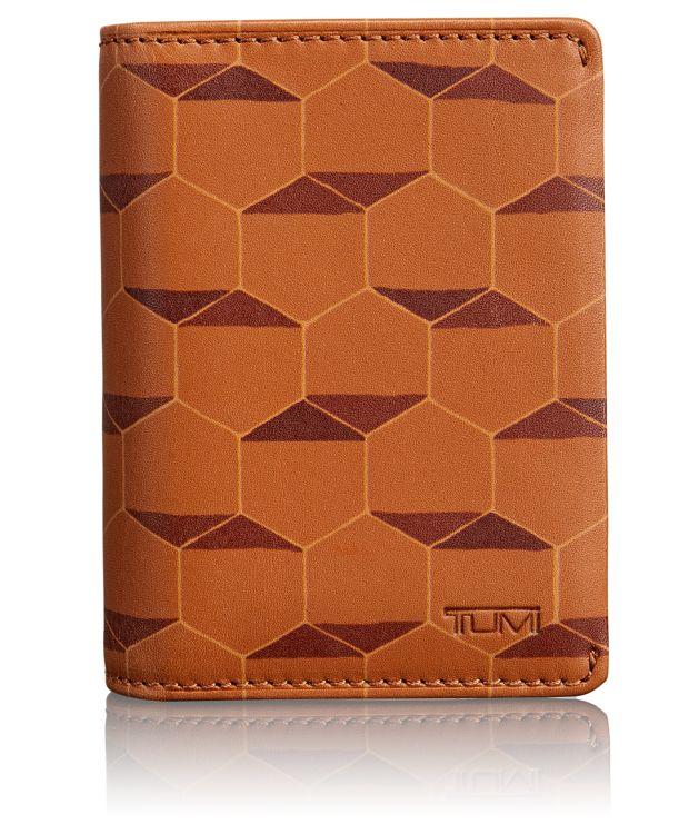 TUMI ID Lock™ Gusseted Card Case in Tan Hexagon Print