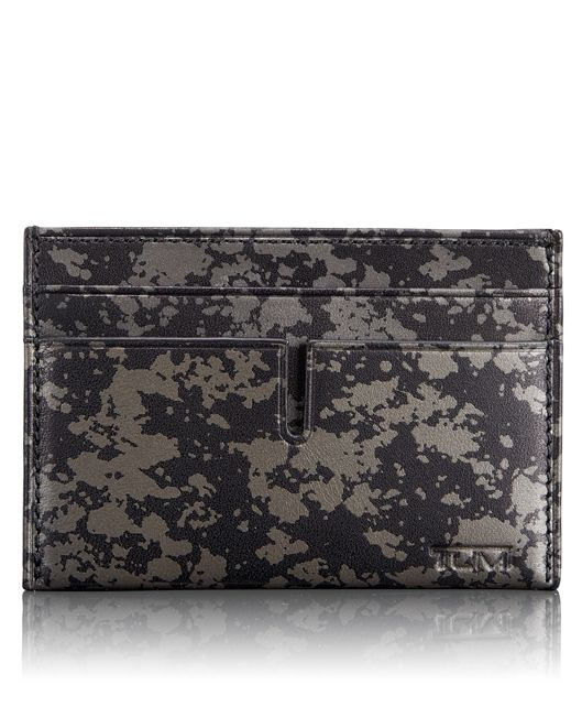 TUMI ID Lock™ Slim Card Case in Gunmetal Drip Print