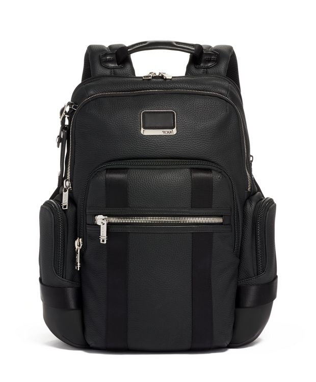 Nathan Expandable Backpack Leather in Matte Black