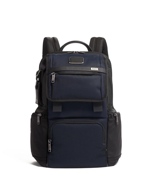 Flap Backpack in Navy Reflective