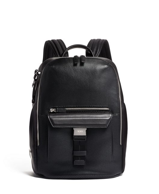 Doyle Backpack Leather in Black Perforated
