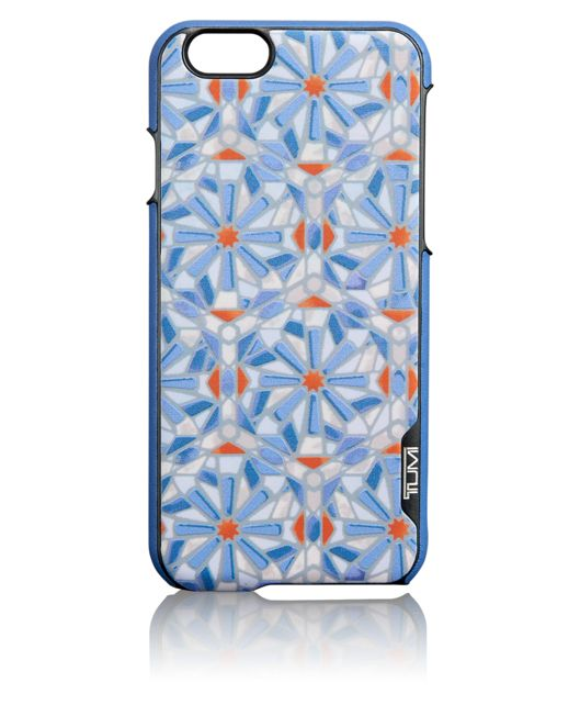 TUMI Leather Cover for iPhone 6 and 6S in Cayenne Tile Print