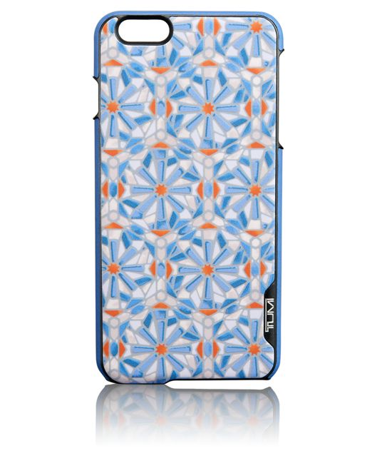 TUMI Leather Cover for iPhone 6 Plus and 6S Plus in Cayenne Tile Print