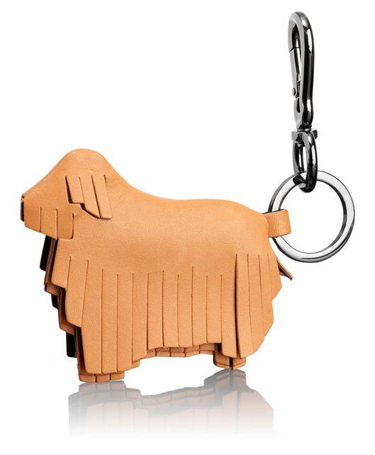 Fringe Dog Key Fob in Tan