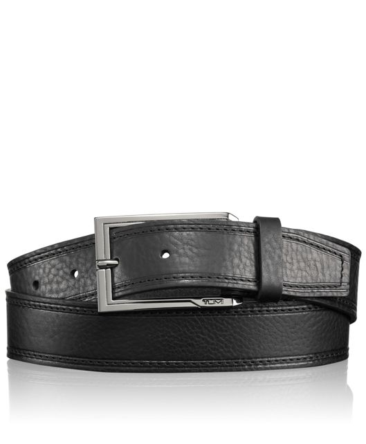 Stitched Pebbled Belt in Gun Metal/Black