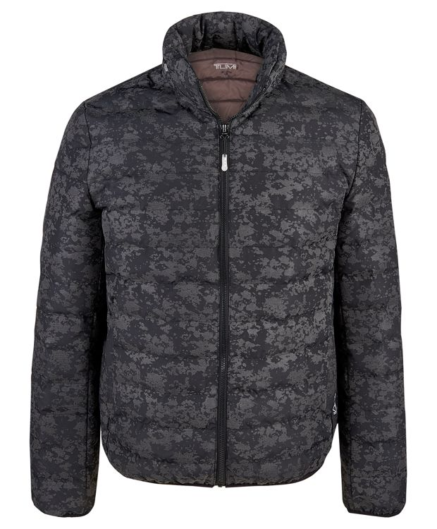 Patrol Packable Travel Puffer Jacket in Gunmetal Drip Print