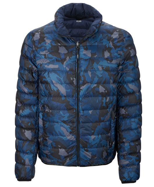 Patrol Reversible Packable Travel Puffer Jacket in Blue Camo