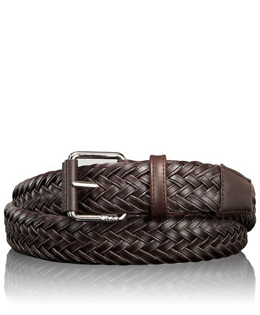 Leather Braided Belt in Nickel Satin/Brown