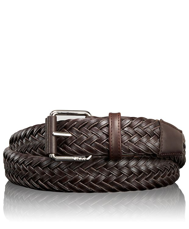 Leather Braided Belt in Nickel Satin/Brown