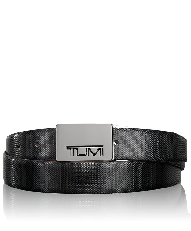 Tumi Stencil Plaque Reversible Belt in Gun Metal/Reversible