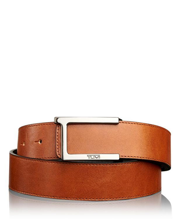 T Buckle Leather Reversible Belt in Gun Metal/Reversible