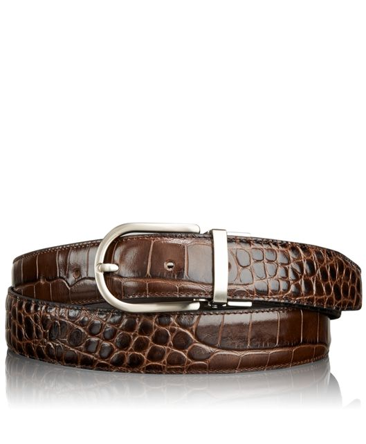 Embossed Exotic Belt in Brown
