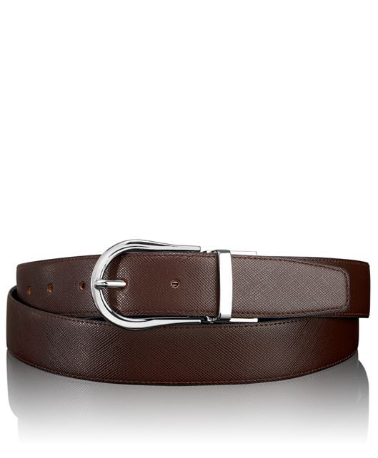 Saffiano Horseshoe Reversible Belt in Nickel Reversible