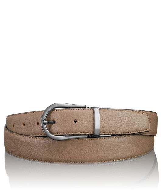 Pebbled Horseshoe Reversible Belt in Gun Metal/Reversible