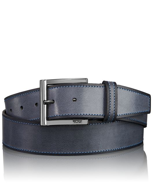 Two Toned Leather Adjustable Belt in Gunmetal Grey