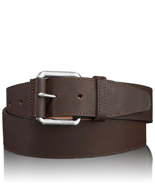 Casual Adjustable Belt in Nickel Satin/Brown