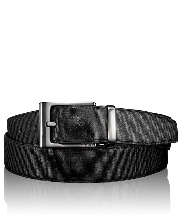 Embossed Reversible Belt in Gun Metal/Reversible