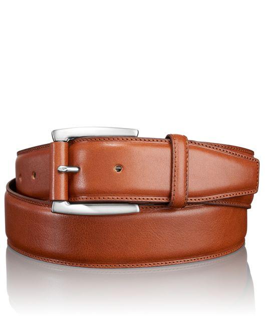 Leather Roller Adjustable Belt in Nickel Satin/Brown