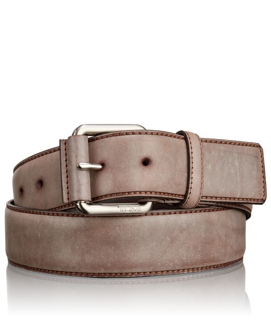 Casual Leather Roller Belt in Nickel Satin Brown