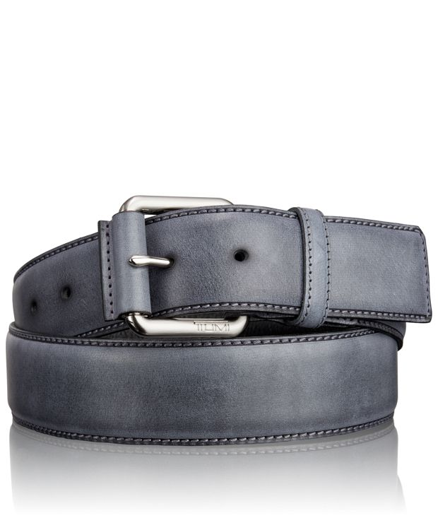 Casual Leather Roller Belt in Nickel Satin/Grey