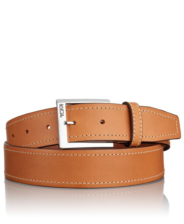 Stitched Leather Belt in Nickel Satin Tan