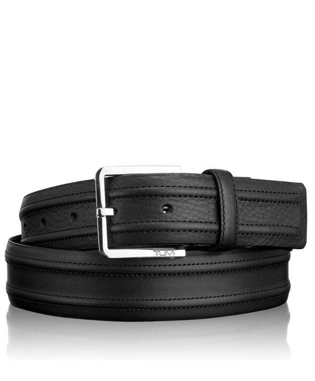 Bombay Leather Belt in Nickel Satin/Black