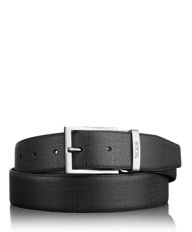 Embossed Leather Belt in Gun Metal/Reversible