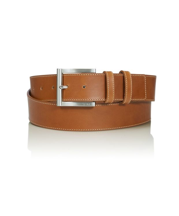 Double Keeper Leather Belt in Nickel Satin/Tan