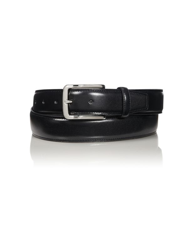 Contrast Edge Leather Belt in Brass/Black