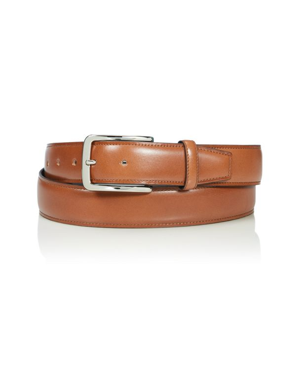 Contrast Edge Leather Belt in Brass/Tan