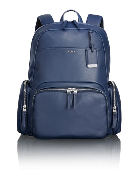 Calais Leather Backpack in Blue