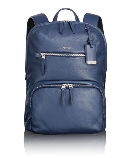Halle Leather Backpack in Blue