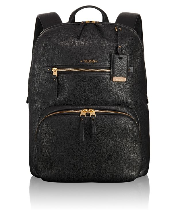 Halle Leather Backpack in Black