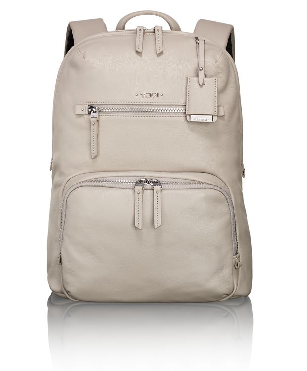 Halle Leather Backpack in Grey