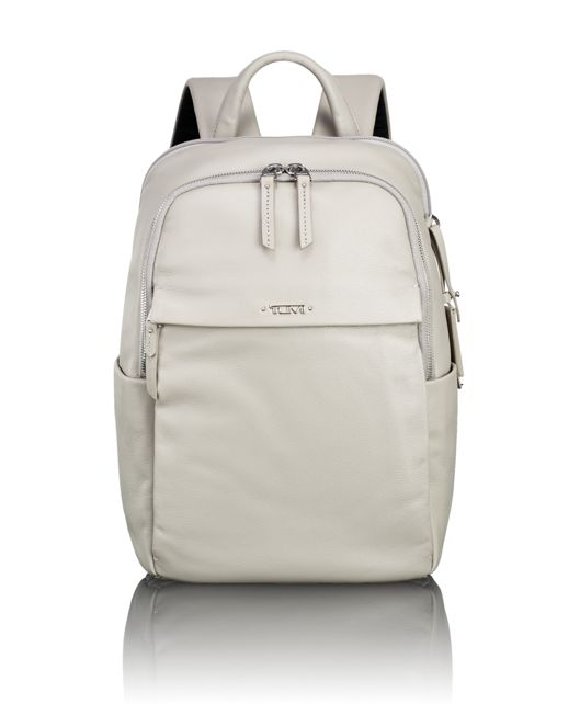 Daniella Small Leather Backpack in Grey